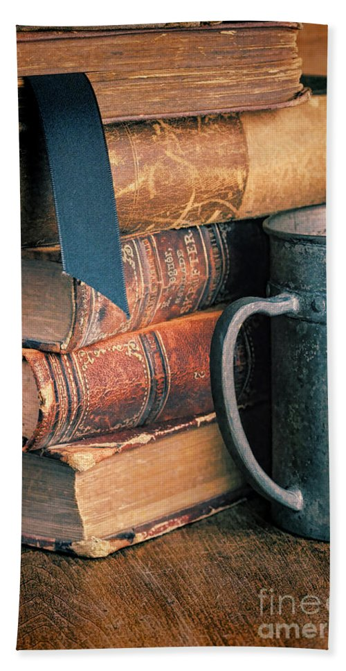 Books Bath Sheet featuring the photograph Stack Of Vintage Books by Jill Battaglia