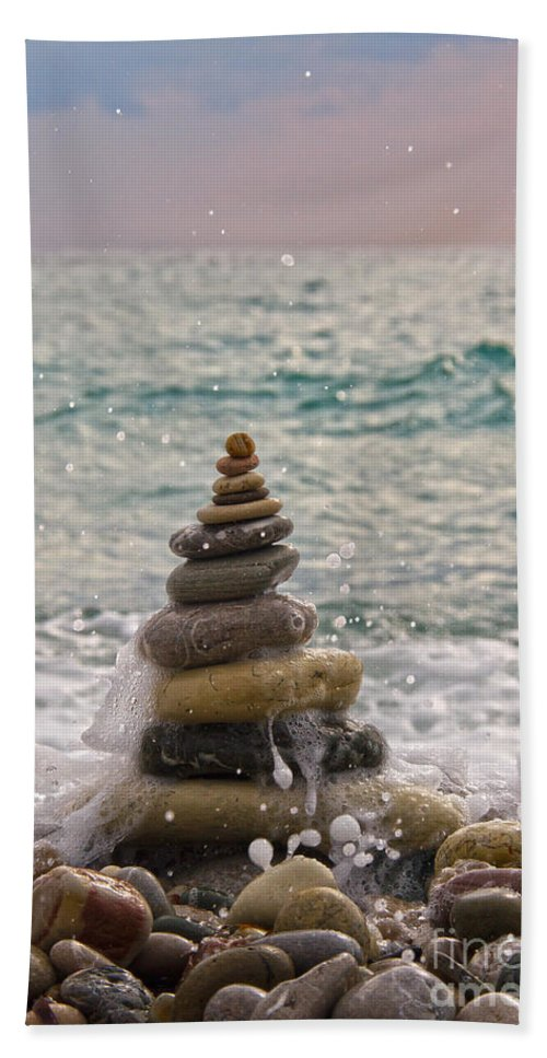 Beach Bath Sheet featuring the photograph Stacking Stones by Stelios Kleanthous