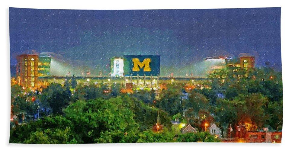 University Of Michigan Bath Sheet featuring the painting Stadium At Night by John Farr