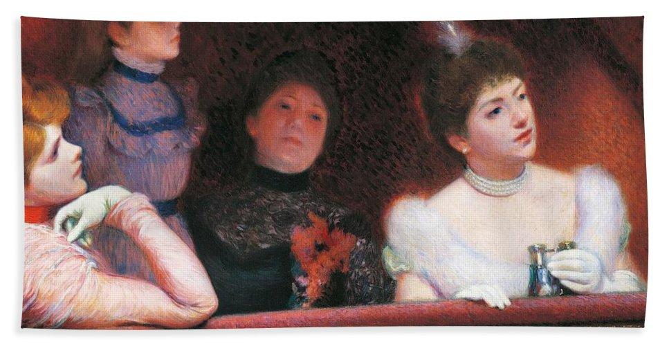 Painting; 19th Century Painting; Zandomeneghi Federico; Female Figure; Spectator; Impressionism Bath Sheet featuring the painting Stage Or Au Theatre by Federico Zandomeneghi
