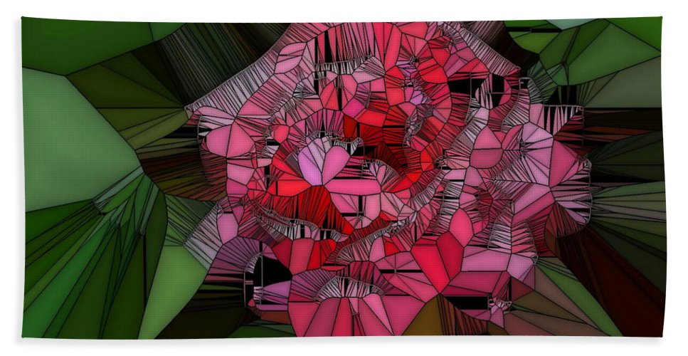 Rose Bath Sheet featuring the digital art Stain Glass Rose by April Patterson
