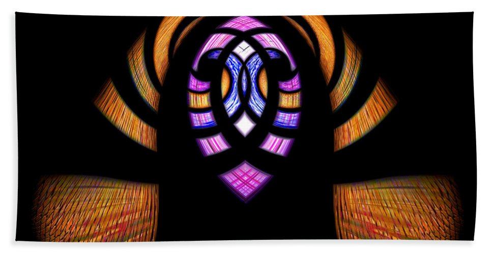 Digital Art Hand Towel featuring the digital art Stained Glass Abstract by Sue Stefanowicz