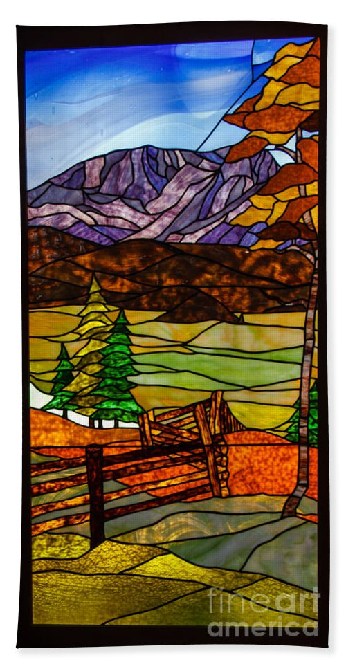 Stained Glass Window Hand Towel featuring the photograph Stained-glass-beauty by Robert Bales