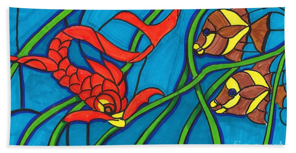 Markers Hand Towel featuring the drawing Stained Glass by Bill Richards