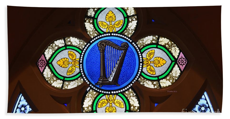 Stain Glass Harp Bath Sheet featuring the photograph Stained Glass Harp by Luther Fine Art