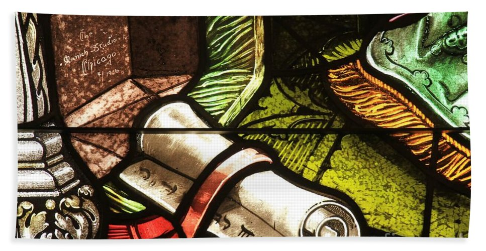 Stained Glass Scroll Hand Towel featuring the photograph Stained Glass Scroll by Adam Jewell