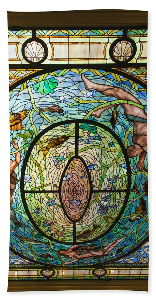 Animals Hand Towel featuring the photograph Stained Glass Skylight In Fordyce Bathhouse by John M Bailey