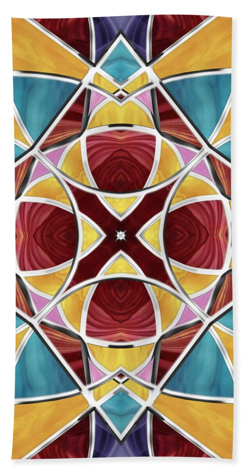 Stained Glass Bath Sheet featuring the digital art Stained Glass Window 5 by Shawna Rowe