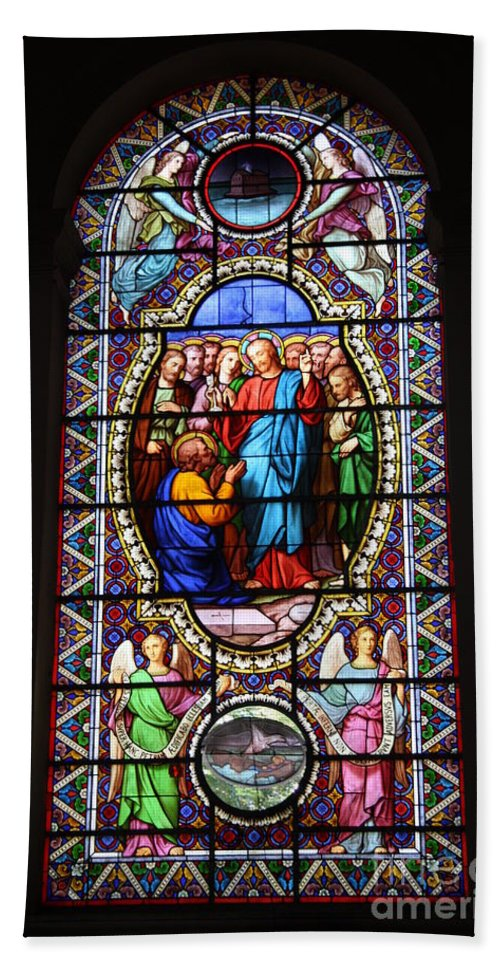 Stained Glass Hand Towel featuring the photograph Stained Glass Window Viii by Christiane Schulze Art And Photography
