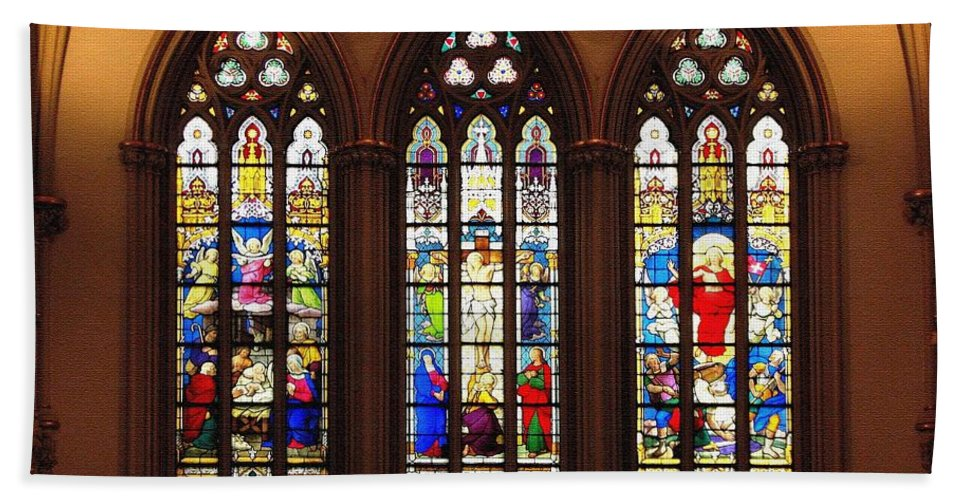Saint Joseph's Cathedral Hand Towel featuring the photograph Stained Glass Windows At Saint Josephs Cathedral Buffalo New York by Rose Santuci-Sofranko