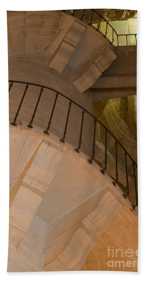 Magne Tower Nîmes France Towers Staircase Staircases Rail Rails Railing Bath Sheet featuring the photograph Staircase by Bob Phillips