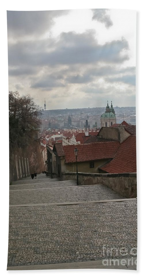 Travel Bath Sheet featuring the photograph Stairs To Prague by Elvis Vaughn