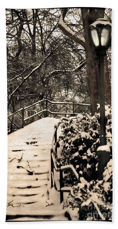 Snow Hand Towel featuring the photograph Stairway In Central Park On A Stormy Day by Madeline Ellis