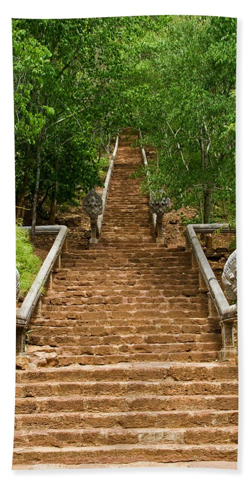 Cambodia Bath Sheet featuring the photograph Stairway To Heaven by David Freuthal
