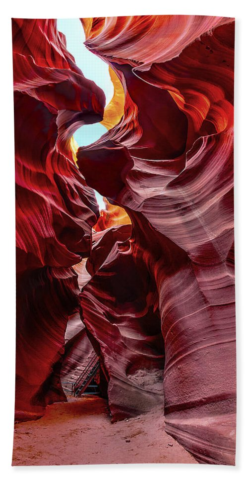 Antelope Canyon Hand Towel featuring the photograph Stairway To Heaven by Jason Chu