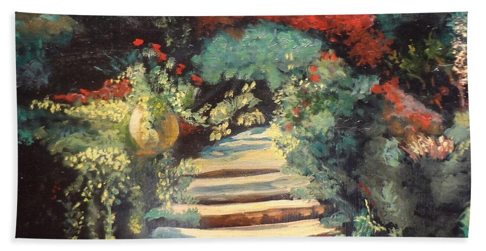 Stairway Canvas Print Hand Towel featuring the painting Stairway To Heaven by Jenny Lee