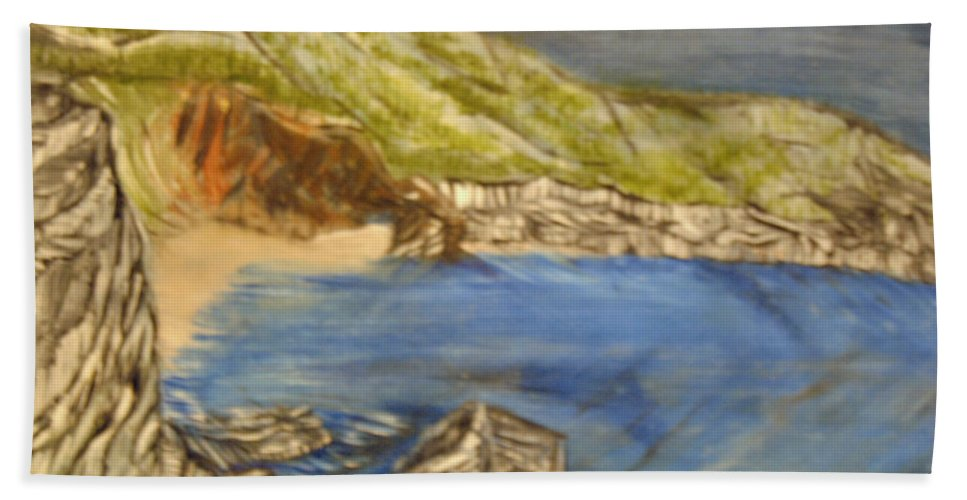 Ocean Hand Towel featuring the painting Stairway To The Beach by Suzanne Surber