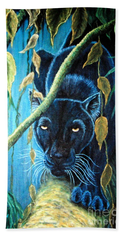 Black Panther Bath Sheet featuring the painting Stalking Black Panther by Nick Gustafson