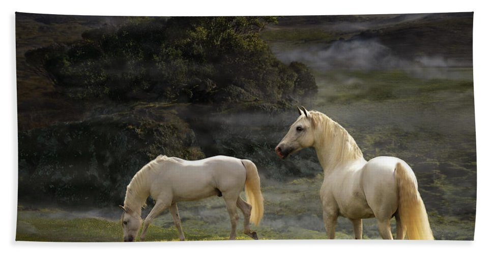 White Stallions Hand Towel featuring the photograph Stallions Of The Gods by Melinda Hughes-Berland