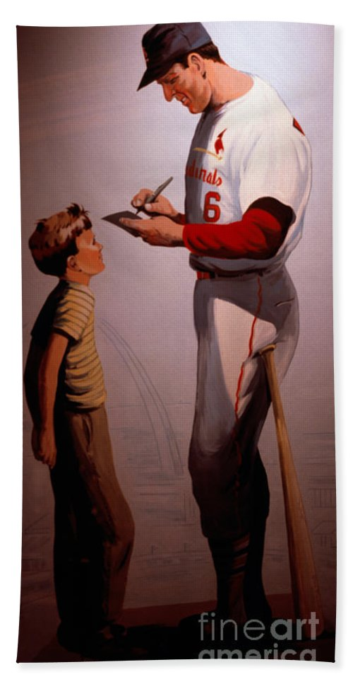 Baseball Hand Towel featuring the photograph Stan Musial Mural by Tracy Knauer