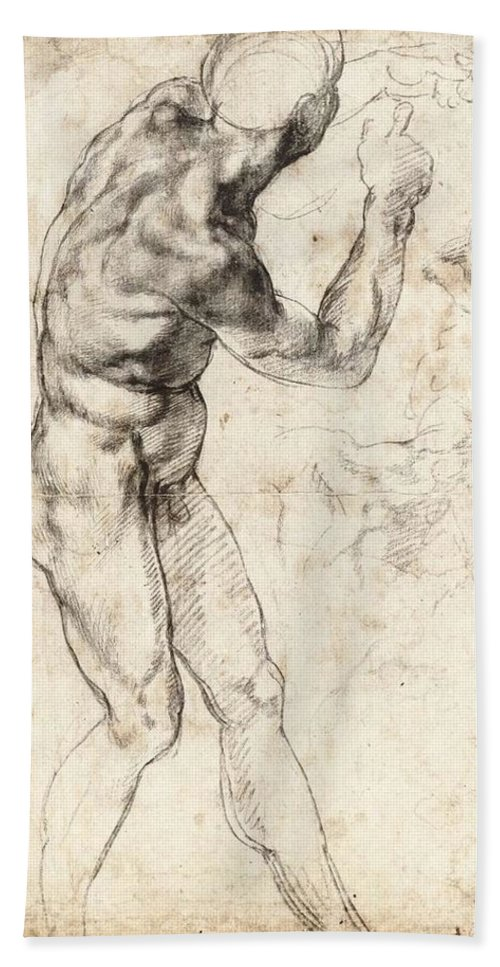 1504-1506 Bath Sheet featuring the painting Standing Male Nude by Michelangelo Buonarroti