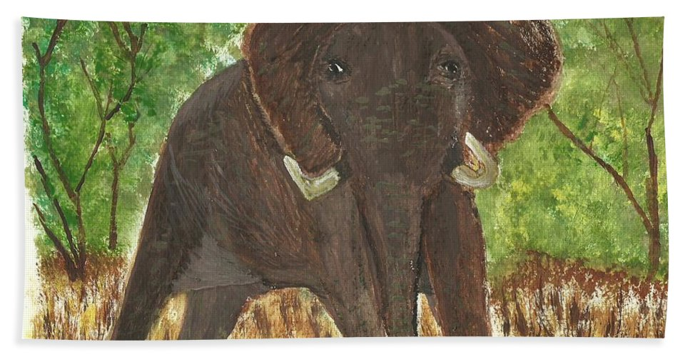 Bull Elephant Hand Towel featuring the painting Standing My Ground by Tracey Williams