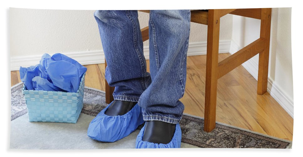 Booties Bath Sheet featuring the photograph Standing Person Wearing Booties by Lee Serenethos