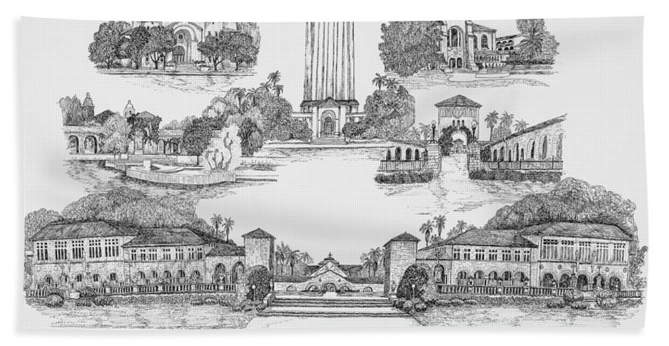 Illustrations Hand Towel featuring the digital art Stanford University by Jessica Bryant