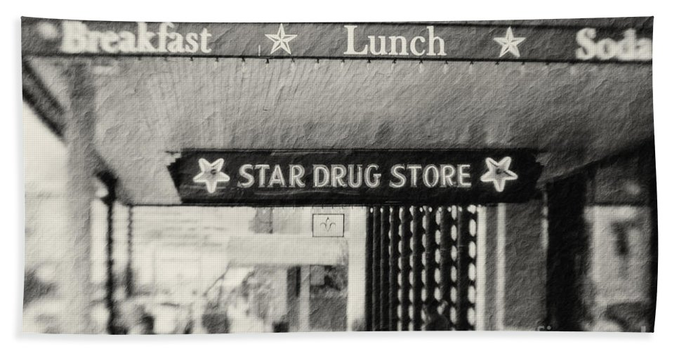 Black&white Hand Towel featuring the photograph Star Drug Store Marquee by Scott Pellegrin