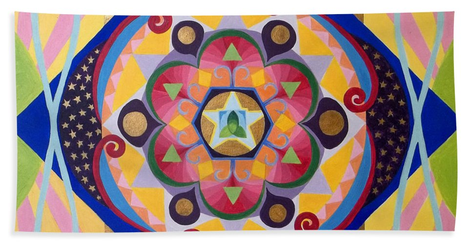 Mandala Bath Sheet featuring the painting Star Mandala by Anne Cameron Cutri