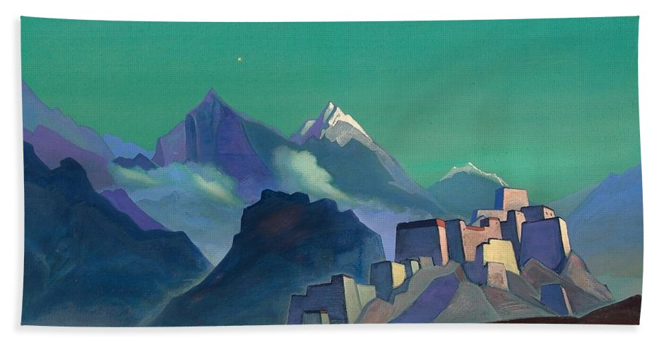 1932 Bath Towel featuring the painting Star Of The Morning by Nicholas Roerich