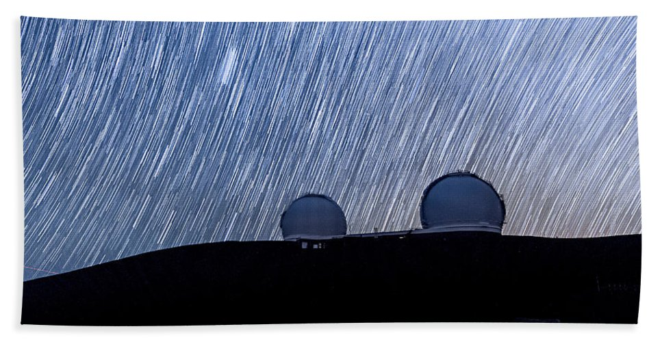Big Island Bath Sheet featuring the photograph Star Trails Above Keck by Jason Chu
