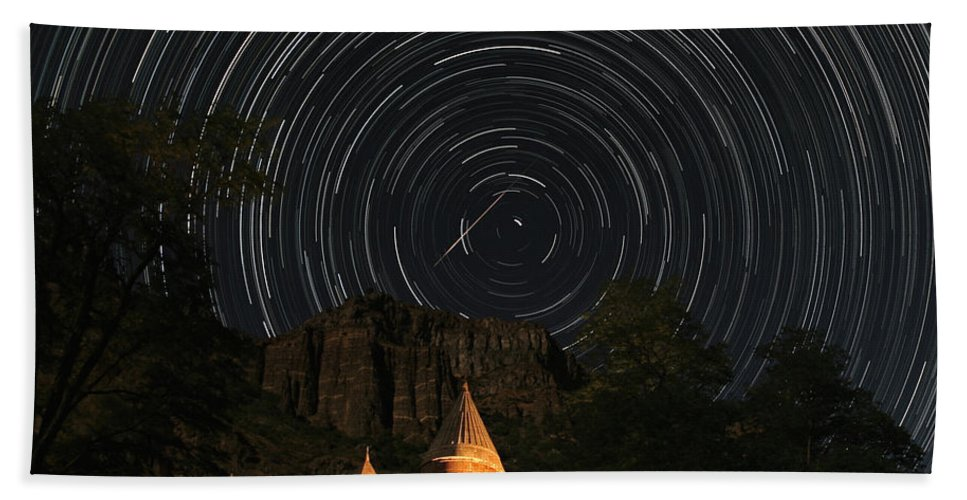 Science Bath Towel featuring the photograph Star Trails Over Geghard Monastery by Babak Tafreshi