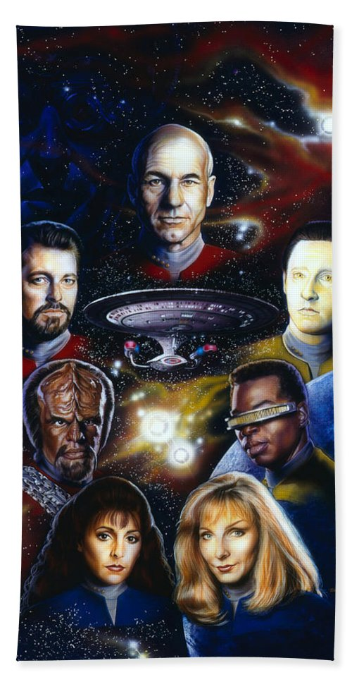 Star Trek Hand Towel featuring the painting Star Trek Tng by Timothy Scoggins
