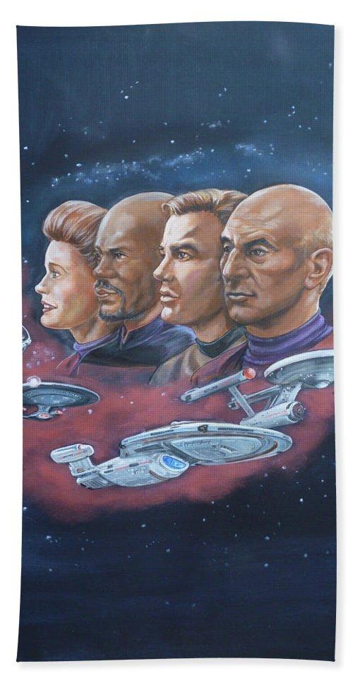 Star Trek Hand Towel featuring the painting Star Trek Tribute Captains by Bryan Bustard