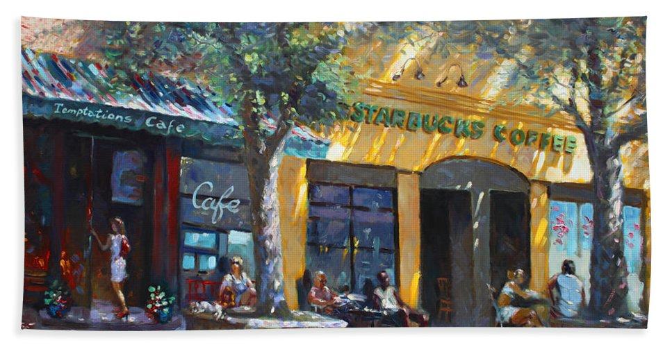 Sturbucks Bath Towel featuring the painting Starbucks Hangout Nyack Ny by Ylli Haruni