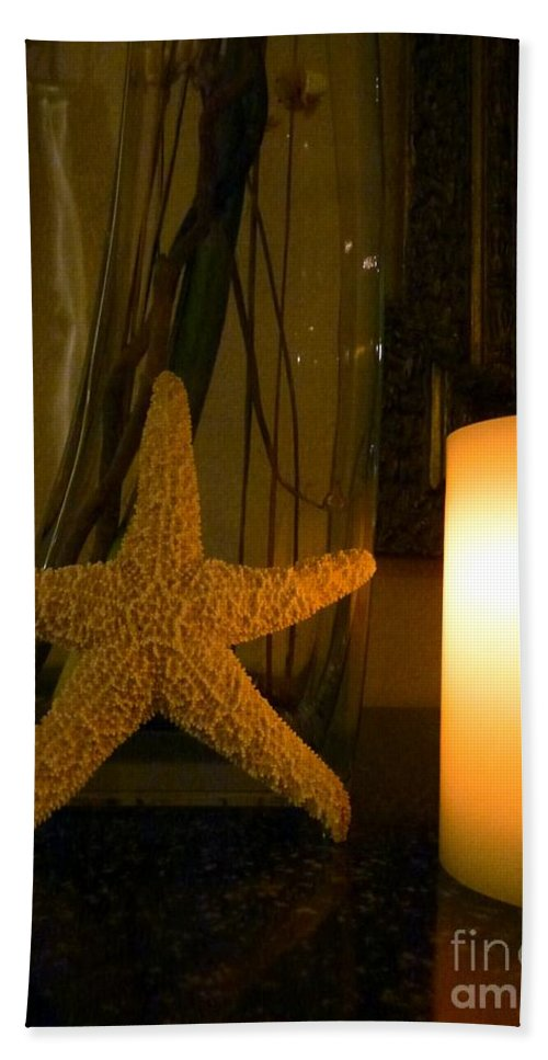 Starfish Hand Towel featuring the photograph Starfish Candleglow Still Life by Barbie Corbett-Newmin