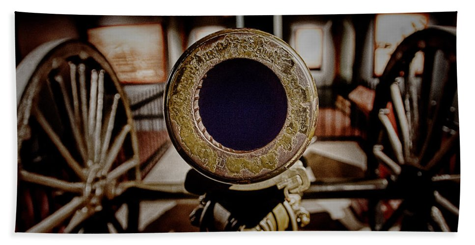 Canon Hand Towel featuring the photograph Staring Down The Barrel Of A Canon by Douglas Barnard