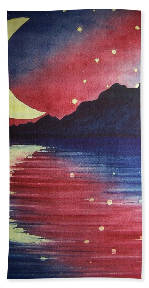 Star Bath Sheet featuring the painting Starry Lake by Conni Reinecke