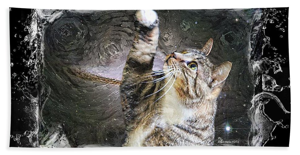 Cat Bath Sheet featuring the photograph Starry Night Kitty Style Splash by Ericamaxine Price