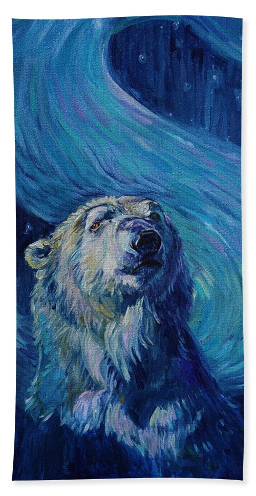 Starry Night Bath Sheet featuring the painting Starry Night Van Gogh Bear by Christine Montague
