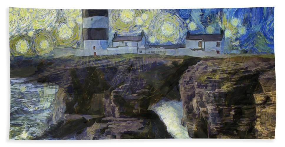 Hook Hand Towel featuring the photograph Starry Hook Head Lighthouse by Nigel R Bell