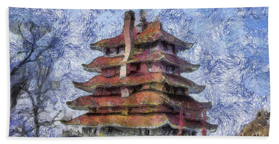 The Pagoda Bath Sheet featuring the photograph Starry Starry Pagoda Night by Trish Tritz