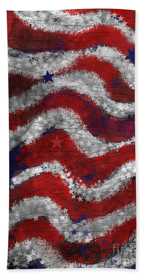 Flag Bath Sheet featuring the painting Starry Stripes by Carol Jacobs