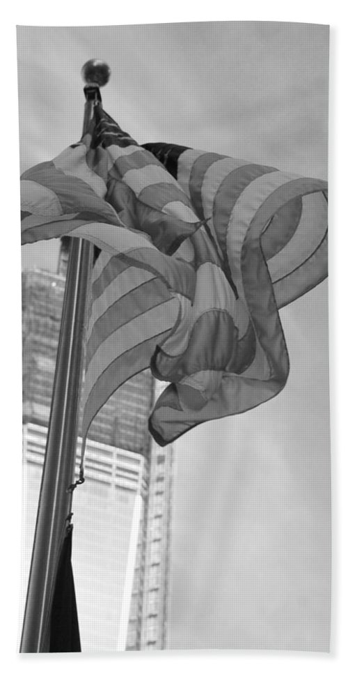 Wtc Hand Towel featuring the photograph Stars And Stripes And 1 W T C In Black And White by Rob Hans