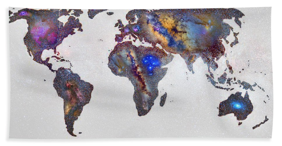 Map Hand Towel featuring the photograph Stars World Map by Guido Montanes Castillo
