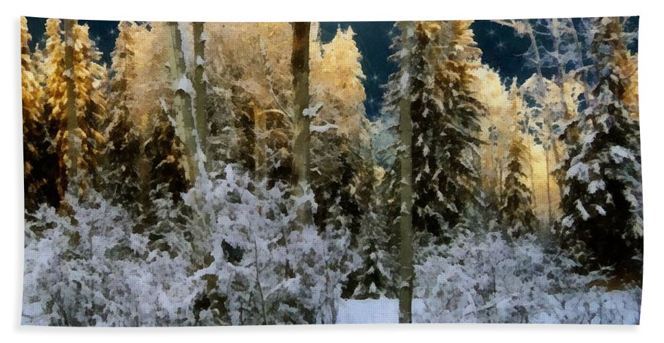 Forest Hand Towel featuring the painting Starshine On A Snowy Wood by RC DeWinter