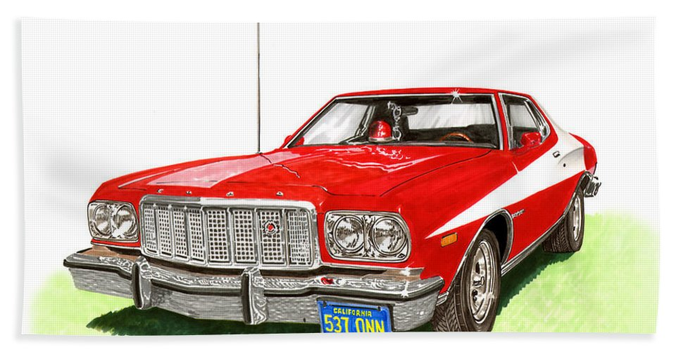 Movie Cars Hand Towel featuring the painting Starsky Hutch 1974 Ford Gran Torino Sport by Jack Pumphrey