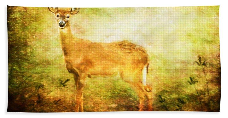 Deer Bath Sheet featuring the photograph Startled by Lois Bryan