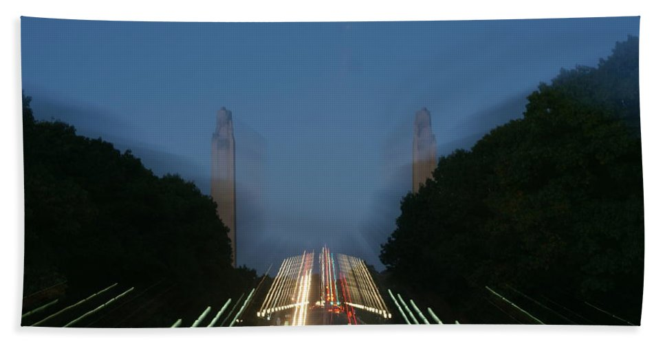 Plaza Bath Sheet featuring the photograph State Capital Plaza Zoomey by Rob Luzier